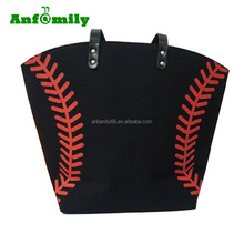 New Black Color Monogrammed Canvas Baseball Tote Bags