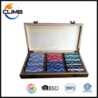 Deluxe Cansino Style 300 Pcs cheap Wooden Poker Chip Sets gambling game sets