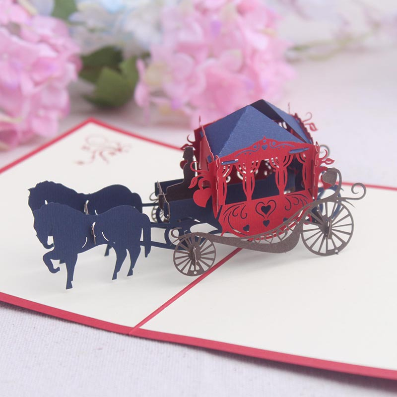 Fancy <strong>Luxury</strong> 3D Carriage Shaped Chinese <strong>Wedding</strong> <strong>Invitation</strong> Card With Best Wishes