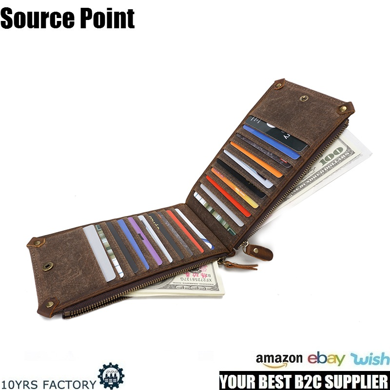 YD-3003 Multifunction hot sell waterproof waxed canvas unisex long style card holder purse wallet