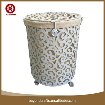 wholesale silver metal family convenient laundry basket on wheels