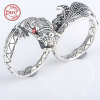 vintage dragon ring jewelry sterling silver two finger ring popular retro men jewelry