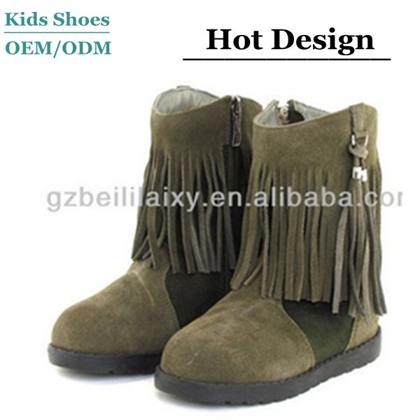 Blue Color suede Leather Flat platform tassel boots famous brands