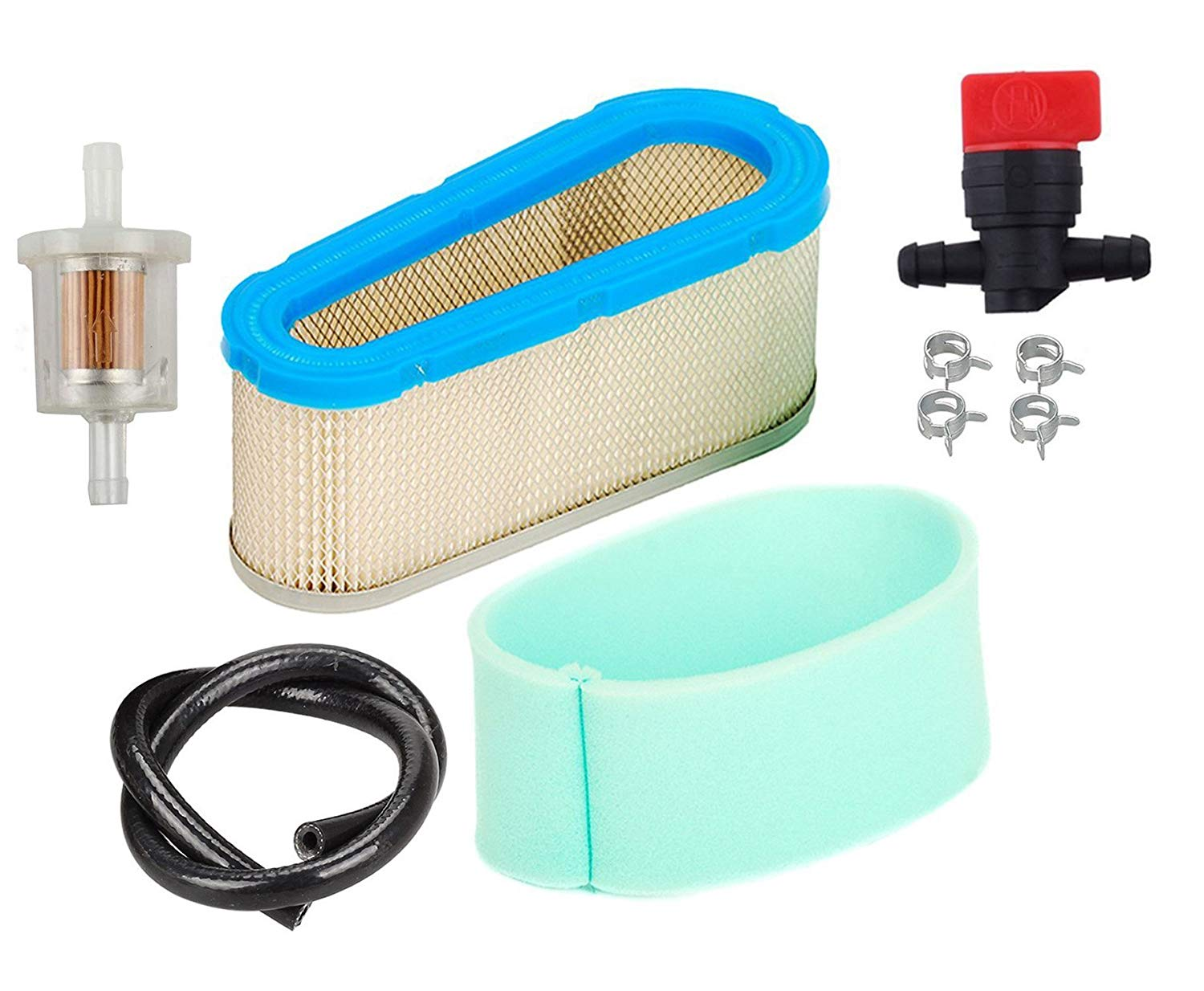 HIFROM 36356 Air Filter 36357 Pre Filter With 698183 Shut Off Valve 493629 Fuel Filter Fuel Line for Tecumseh OHV125 OHV130 OHV120
