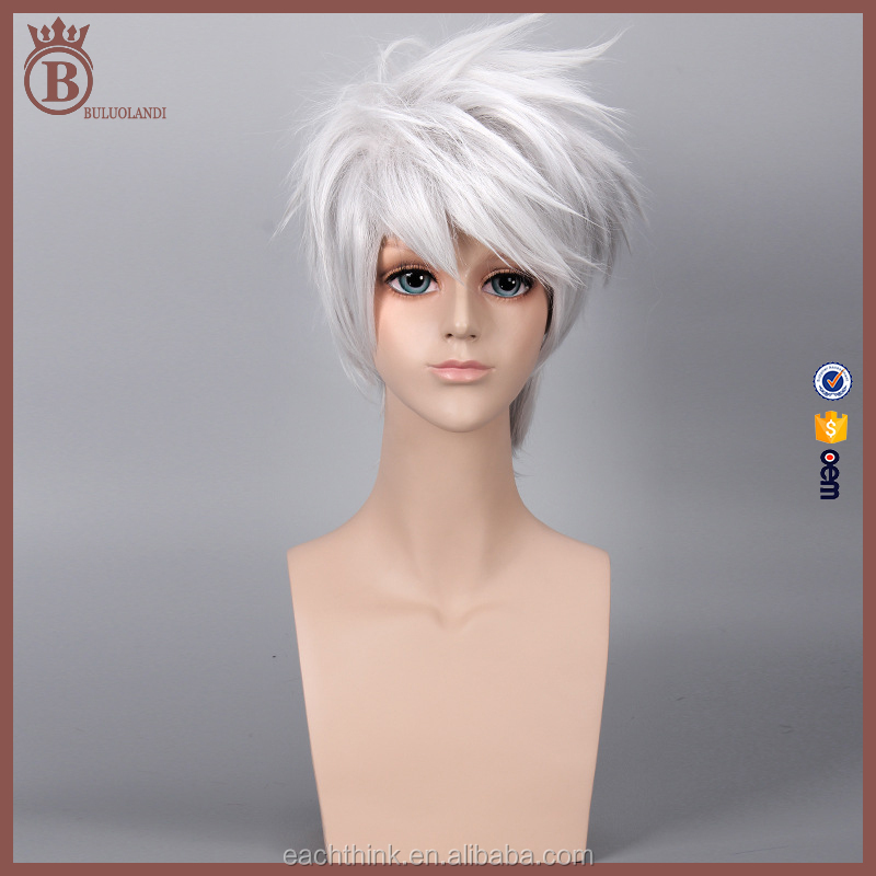 Mans 35cm Short Silver Japanese Anime Cosplay Costume Wigs