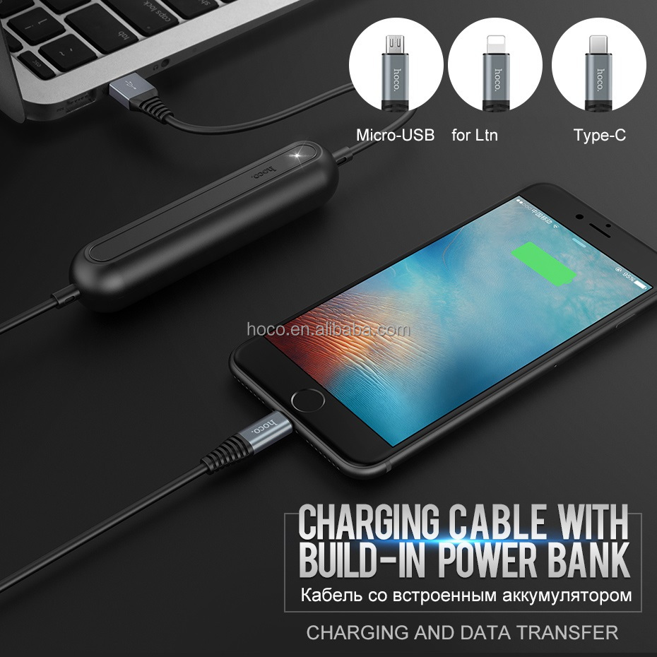 Hoco Original Charging Data Cable Ltn To Usb With Built In Mobile How Build Powered Phone Battery Charger Power Bank 2000mah Wire Type C Micro Buy Portable Batteryfirst