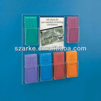 Wall Mounted Acrylic/Plastic/PMMA Brochure/Sign Display Holder with 5 Leaflet Pockets