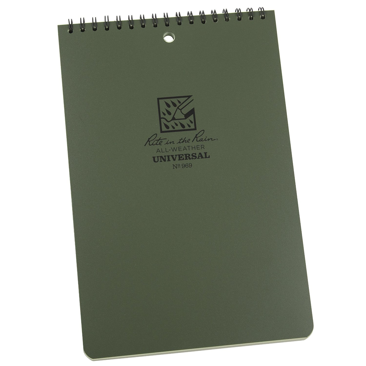 """Rite in the Rain All-Weather 6"""" x 9"""" Top-Spiral Notebook, Green Cover, Universal Pattern (No. 969)"""
