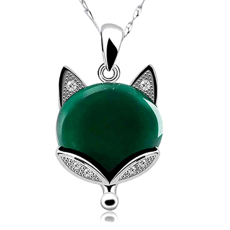 Womens <strong>Natural</strong> Stone <strong>Emerald</strong> Gemstone Inlaid 925 Sterling Silver Fox Animal <strong>Pendant</strong> Necklace