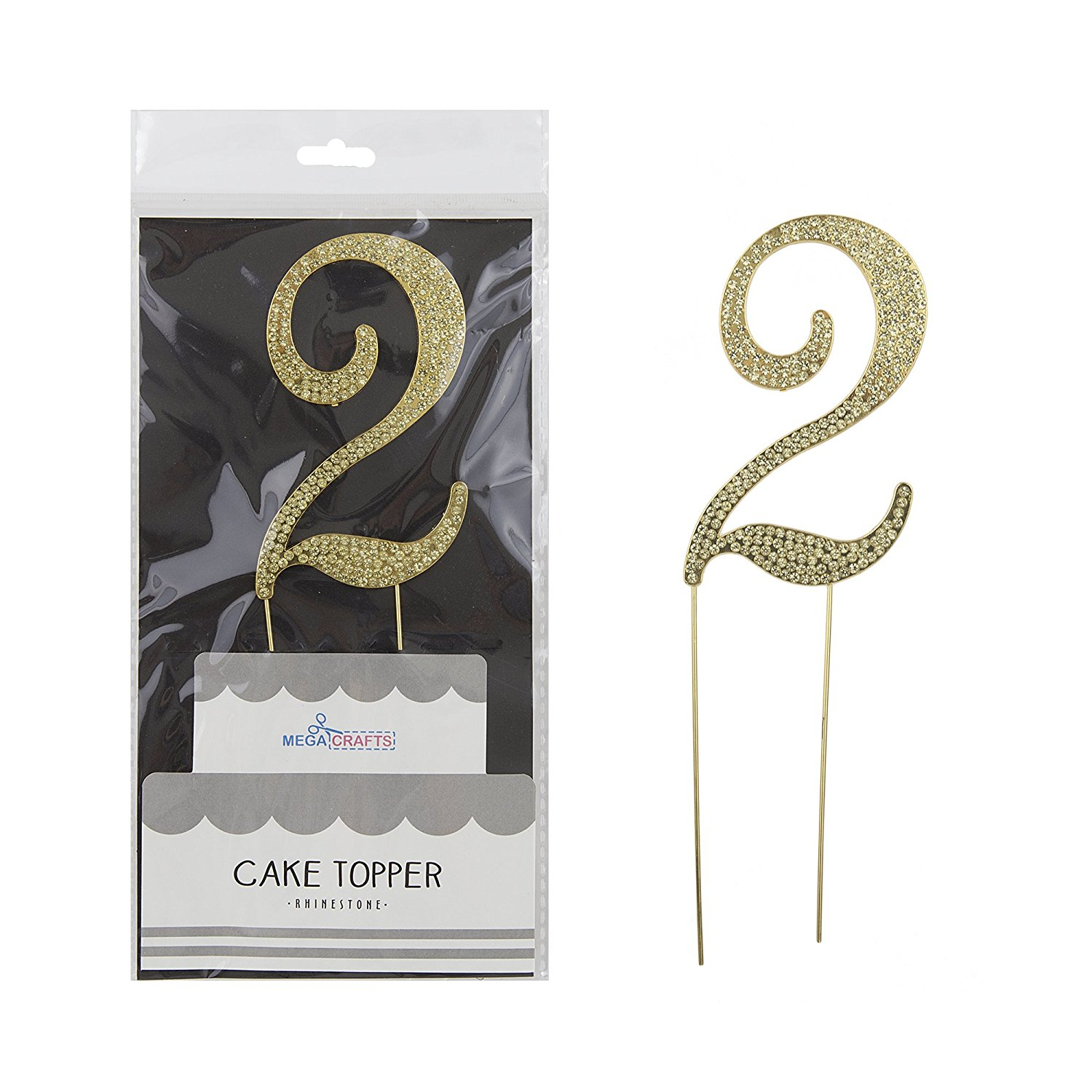 Mega Crafts Sparkly Gold Rhinestone Number 2 Cake Topper Decoration   Shimmering Gold Crystals & Durable Alloy Metal   For Birthdays, Anniversaries, Centerpieces, Party Favors, Celebrations & More