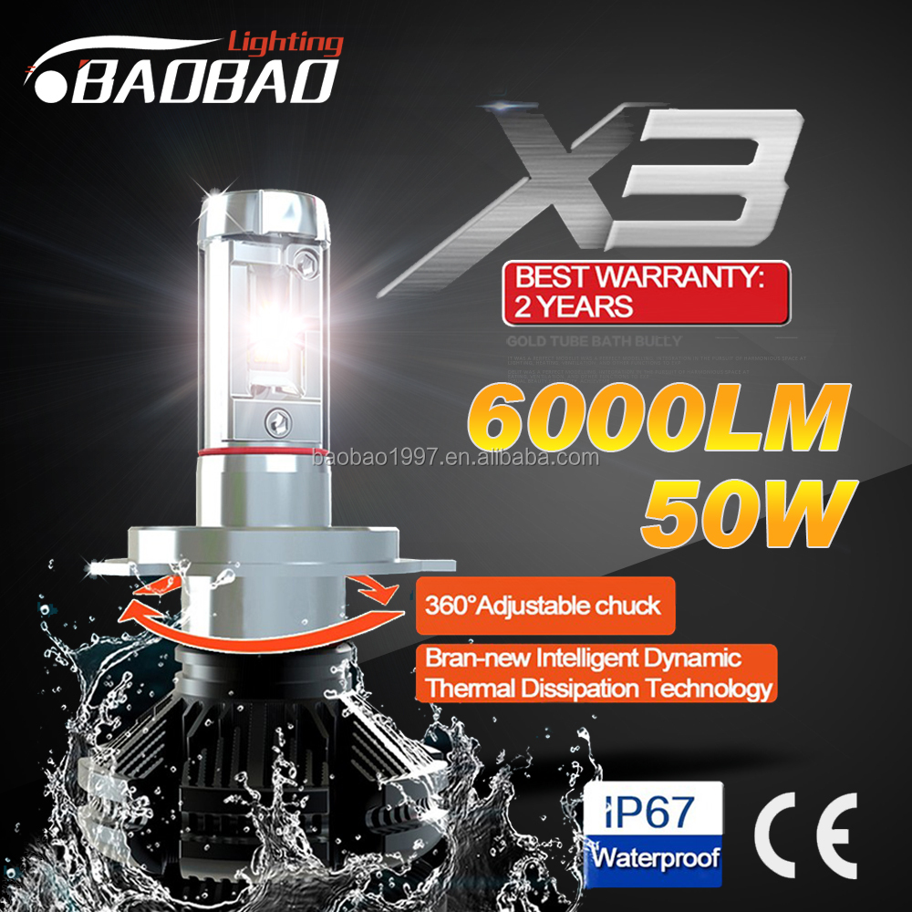 X3 50w 6000lM Philip ZES chips 3000k 6500k 8000k high power car led headlight h4 h13 9005 9006 h11 h16