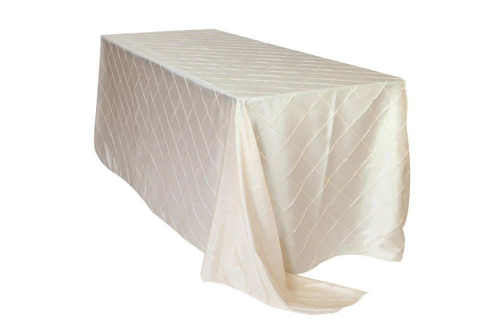 Your Chair Covers - 90 x 156 inch Rectangular Pintuck Taffeta Tablecloths Ivory, Rectangle Table Linens for 8 ft Rectangular Tables