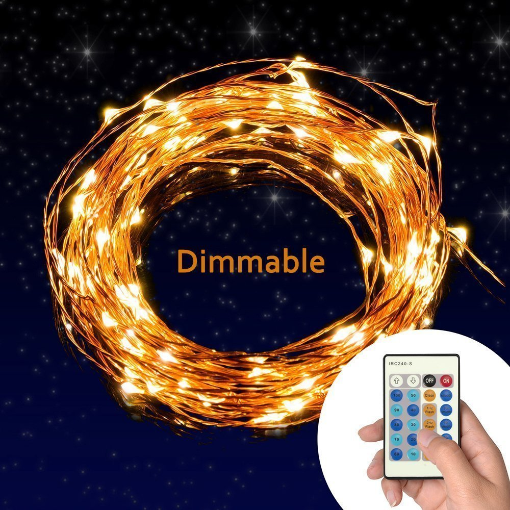 Acmee Remote Led String Lights,Dimmable Copper Wire 66ft 200 LED Party Light Power Adapter for Christmas Wedding and Party, Suitable for Indoors or Outdoors (200LEDS)