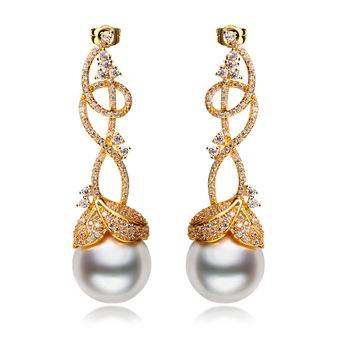 New 2018 Latest Indian Gold Pearl Earring Designs Spiral Shape Custom Fashion Women Drop Earrings
