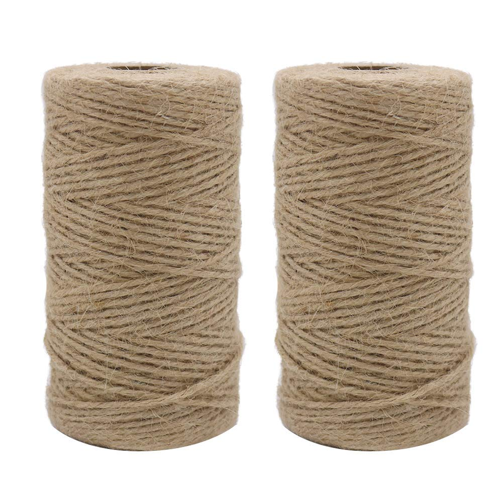 Vivifying 2pcs x 333 Feet 2mm 3Ply Jute Twine, Natural Brown Twine for Garden, Gifts, Crafts