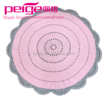 Round Nursery Decor Crochet Pastel Floor Rug Mat