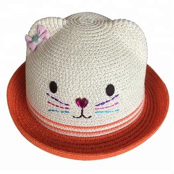 3f362070 Lovely Girls Cat Ear Shape Paper Straw Hat Kids Summer Beach Hat ...