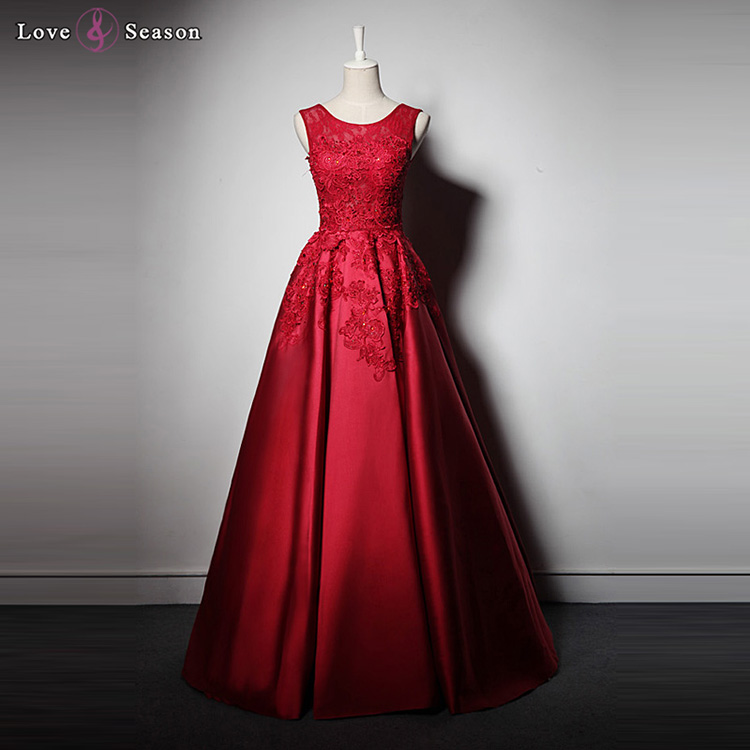 e8262aac5a LSQ053 party sexy vestido de noche sin mangas apliques de raso largo rojo  prom vestidos