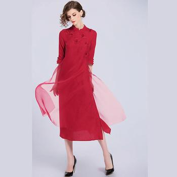 cd6668e36 Chinese Traditional Embroidered Red Silk Cheongsam Dress Qipao Women Long  Dress