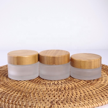 30g 50g empty matte bamboo cream jar, frosted glass cosmetic jar