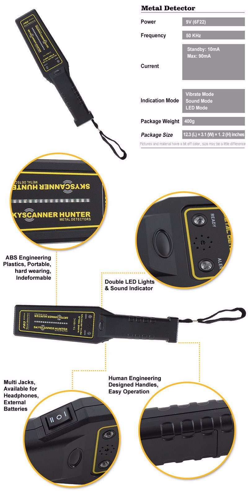 Handheld Metal Detector GP pointer Portable gold detector cheap TX-1001C