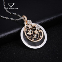 For Women Fine Rhinestone Jewelry Gift Magnifying Cute Glass Chain Necklace Elegant Trendy Flower Vine Leaves Pendant Necklace