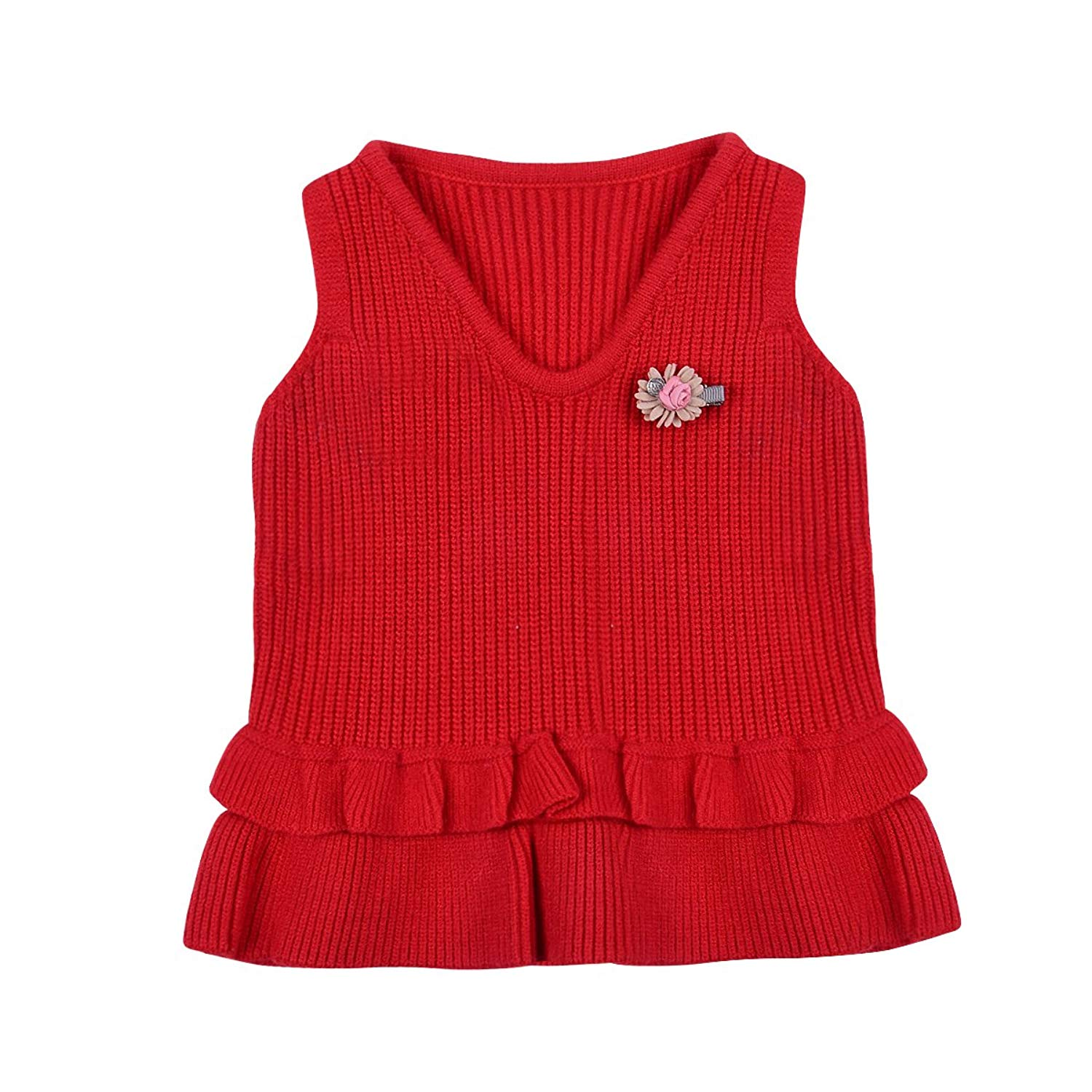 d0735e16a Get Quotations · little dragon pig Toddler Baby Girl Sweater Vest  Sleeveless V-Neck Ruffle Cardigan Fall Clothes