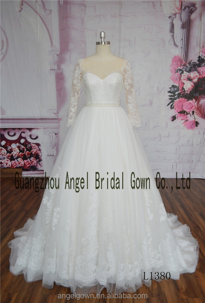 Robe de mariage New 2017 Sweetheart Neck Middle Sleeves A-Line Chapel Train Lace 2 in 1 Wedding Dress With Removable Train