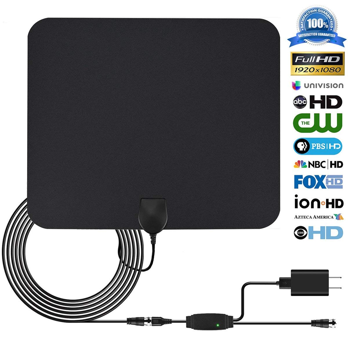 Indoor Digital TV Antenna,POWKER HDTV Antenna Amplified 50-80 Miles Long Range Detachable Amplifier Signal Booster for 1080P with 16.5ft High Reception Coax Cable and USB Power Supply
