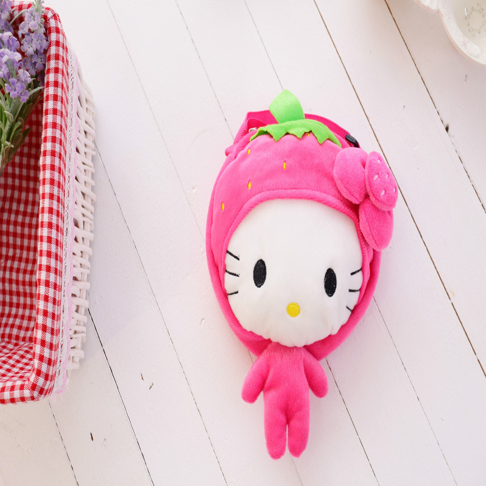 30*20cm beautiful customized pink strawberry fruit KT cat doll satchel bag with matched headdress flower