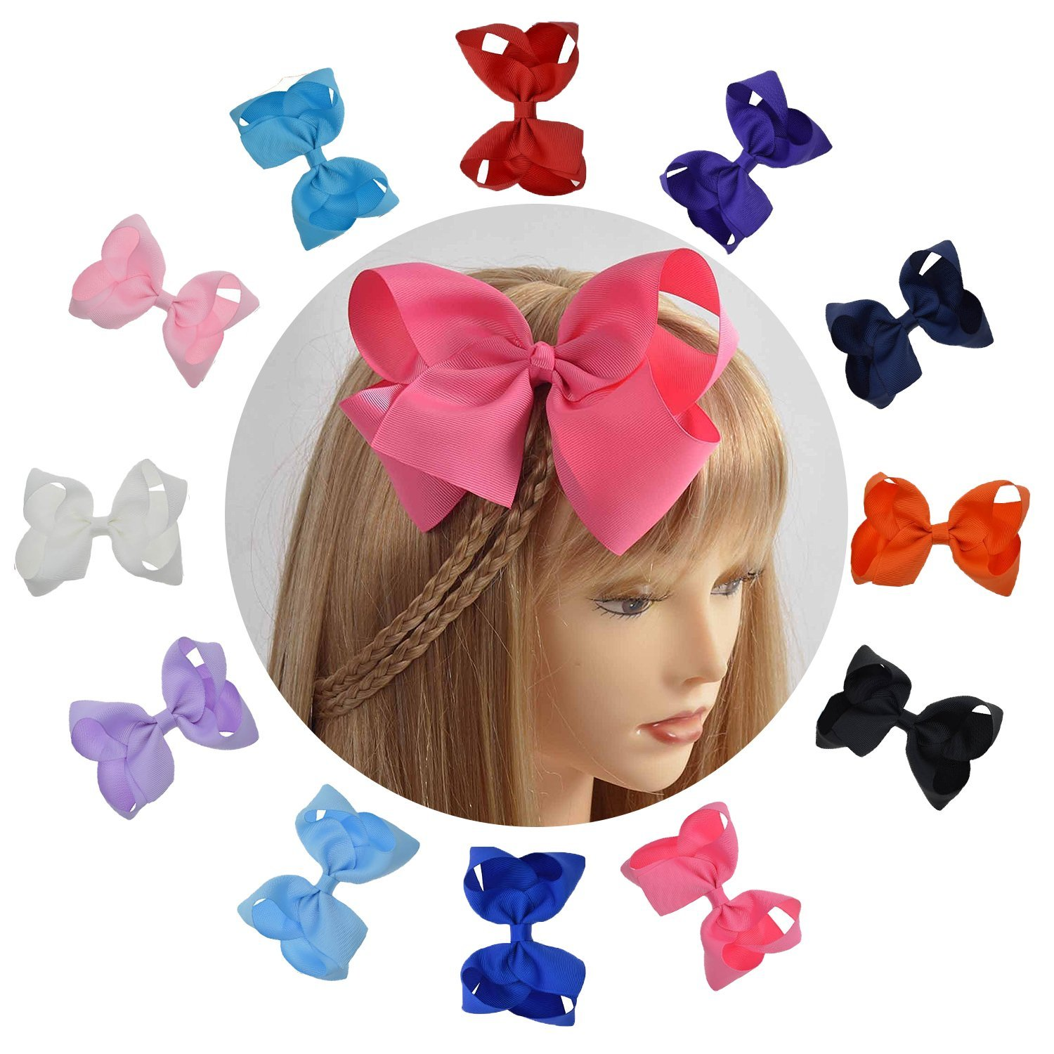 LCLHB Trendy Big Hair Bows With Oversized Ribbon Alligator Clip For Women Babies Little Girls (6 Inch)