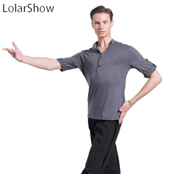 Stylish Men's Latin Cotton Dancing Long Sleeve T Shirt Men Latin Competition Breathable Shirt For Sale