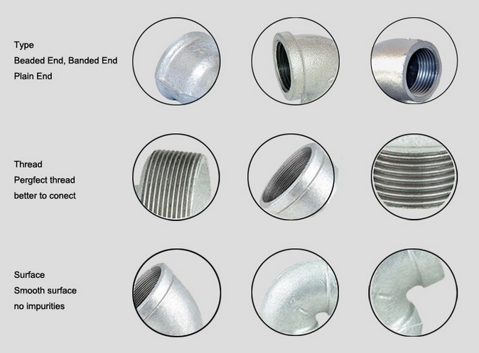Npt galvanized and black malleable iron different types