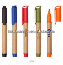Short original color paper eco-friendly pen with logo printed