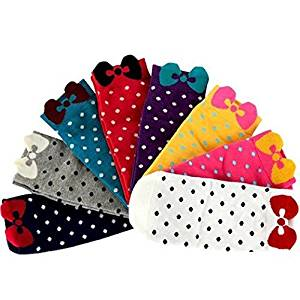 Healthcom Cute Socks-Bowknot Polka Dot Low Cut Socks for Women Girls,Pack of 8 Pairs