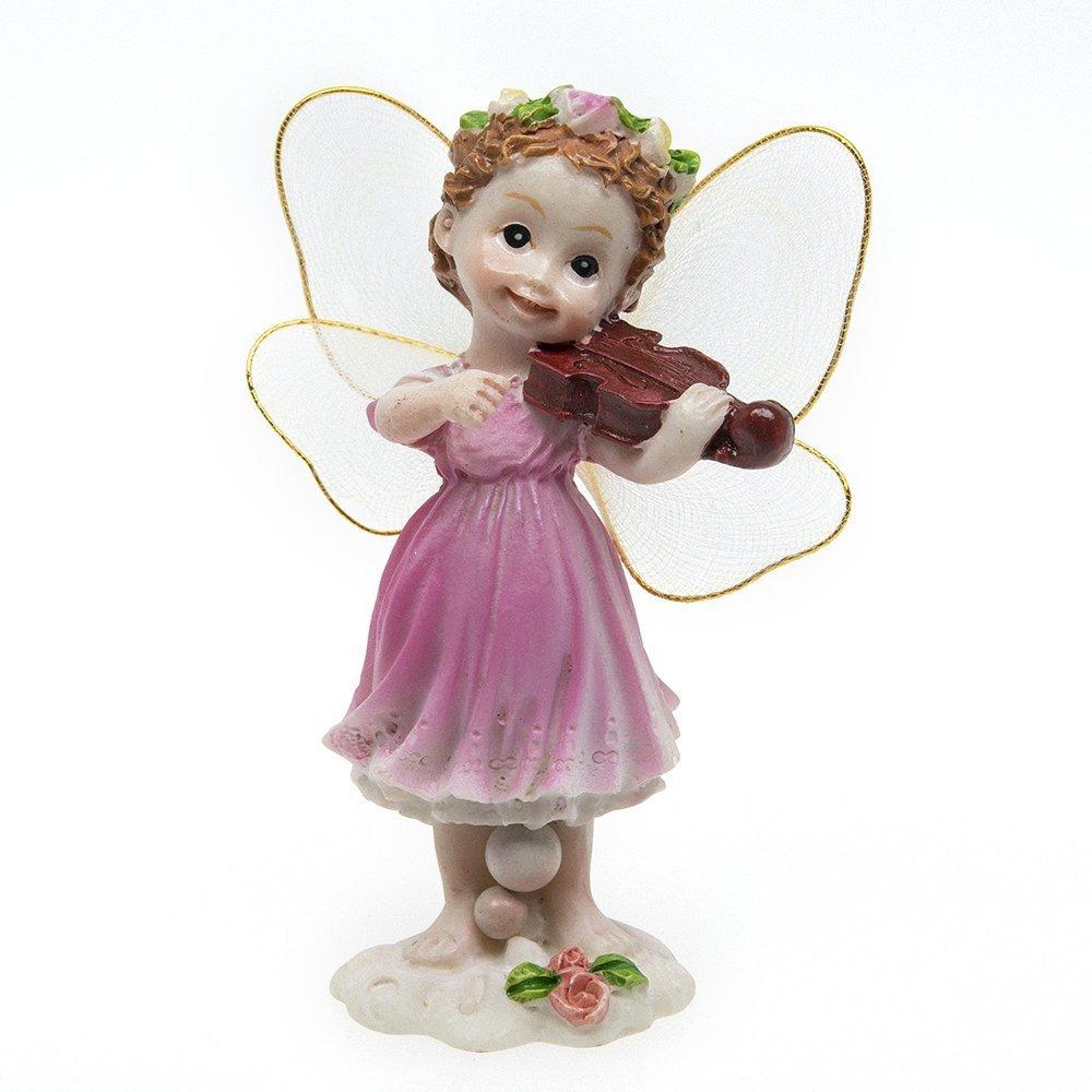 VASL Garden Ornaments Fairy Decor Violin Angel- Retail-Packing- Pink