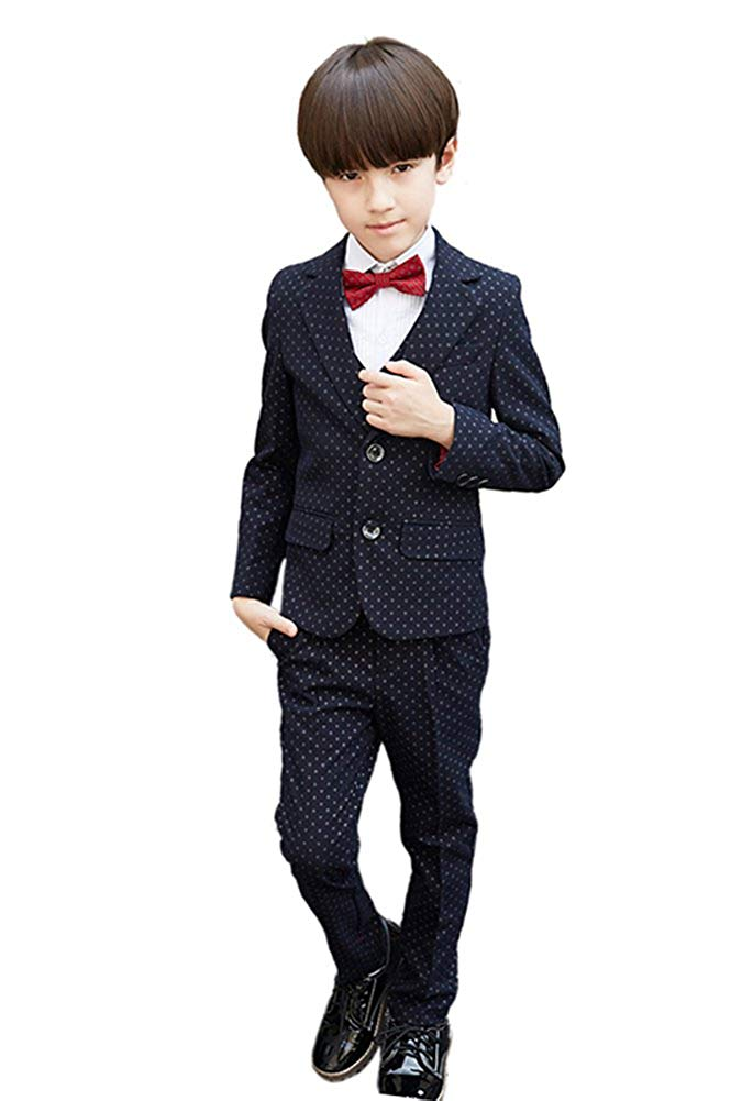 SK Studio Boys' 5 Pieces Slim Fit Point Formal Dress Wedding Suits