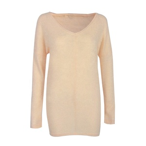 Fashion Women's Loose Knitted Pullover V Neck Long Sleeve Knitwear Top