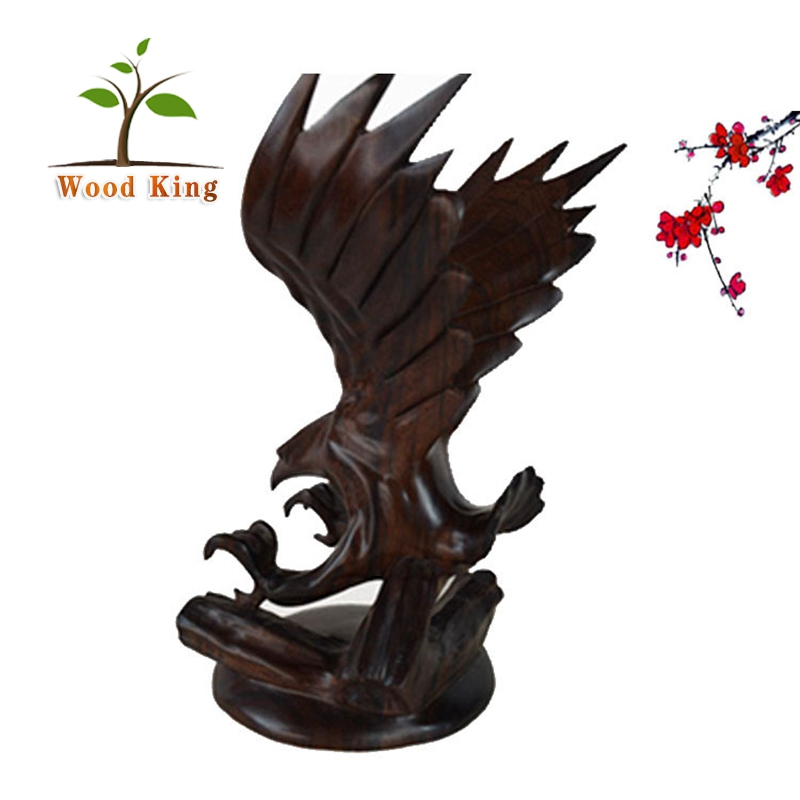 Wholesale Black Acid Animal Crafts Hotel Home Decoration Pieces Decorative Eagle Wood Carving