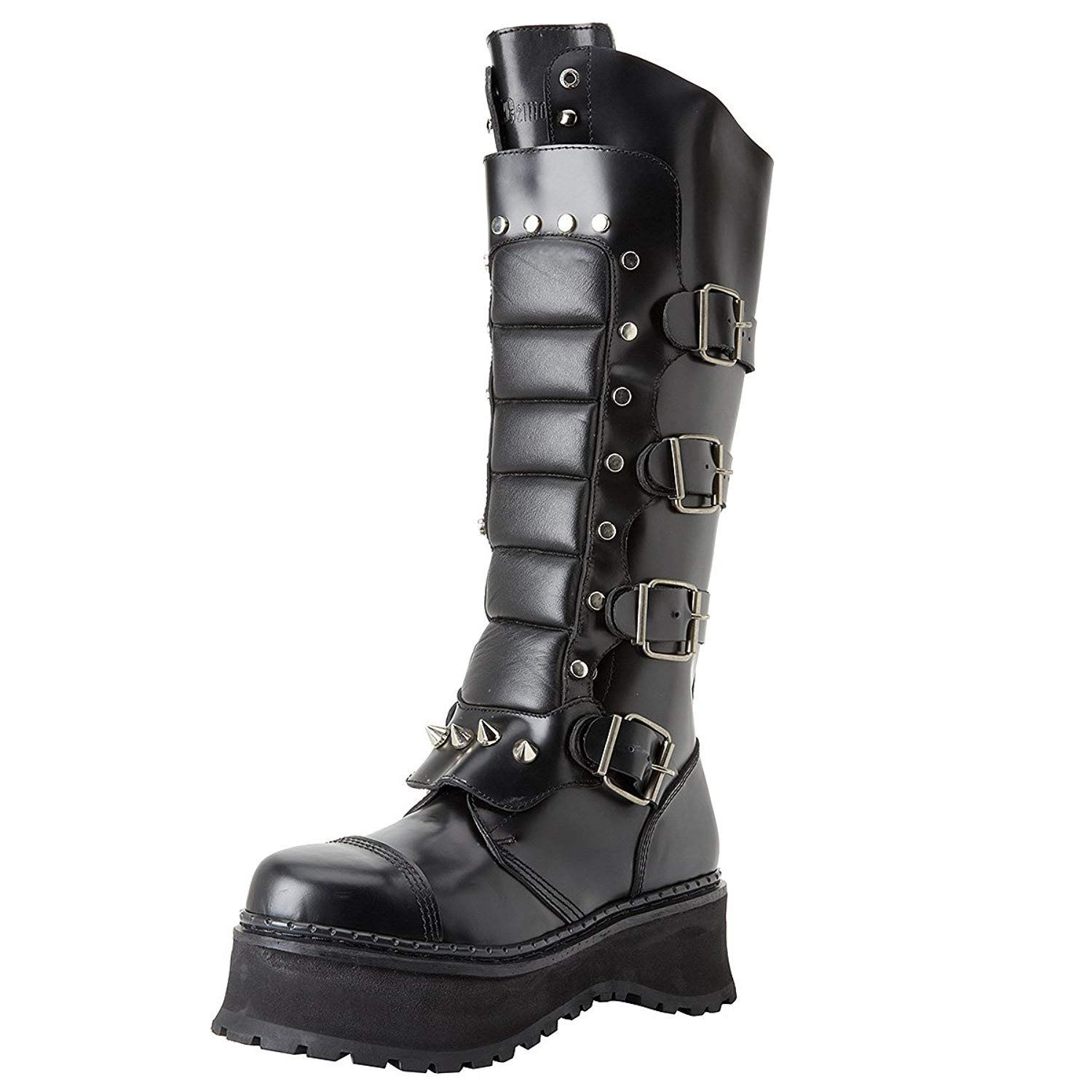 25c02219095 Get Quotations · Mens Black Leather Gothic Boots Knee High Warrior Boots  Steel Toe MENS SIZING