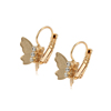 95493 xuping new arrival top grade setting cubic zircon fancy 18k gold hoop earring with charm butterfly