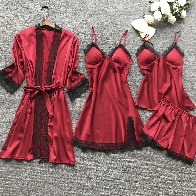 Pyjamas Women Sleepwear Robe Lace Sleepwear Nightwear Girls Sexy Night Dress Lounge Wear 4 Pieces