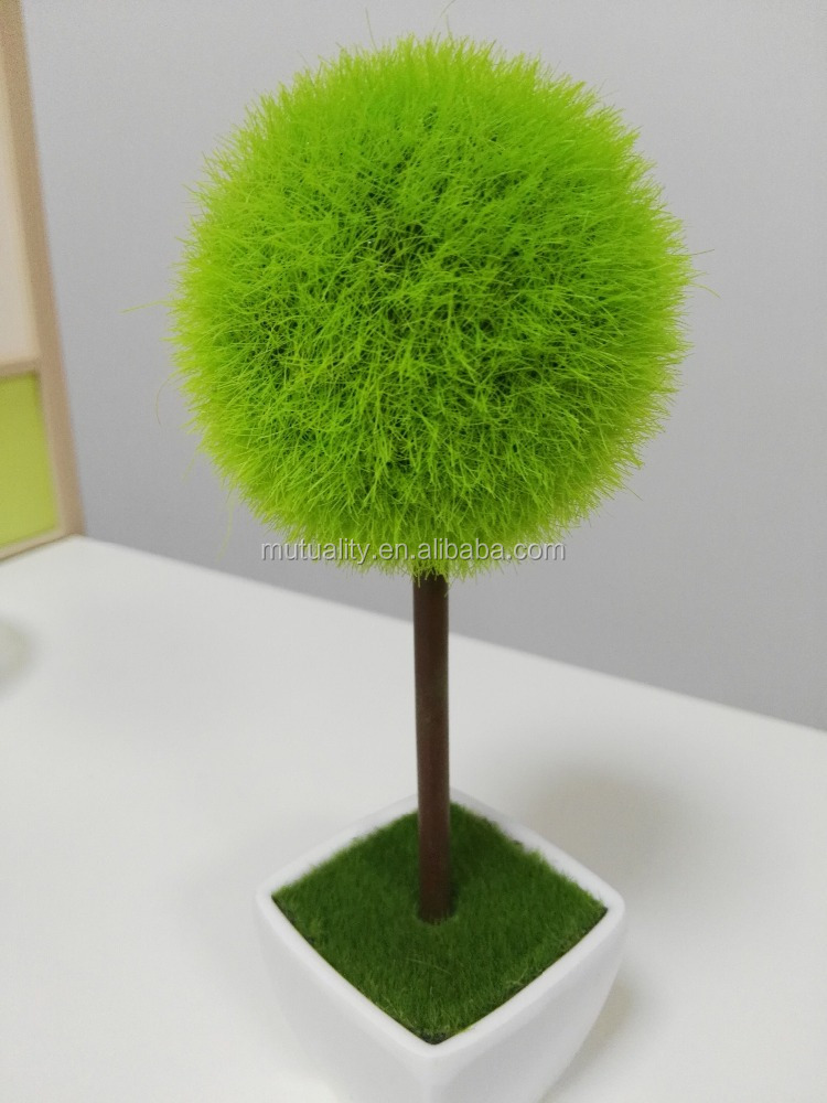 New Product Evergreen potted Samll Plant Artificial Moss Topiary Ball in Pot for wholesale