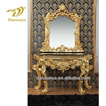 DanXueYa-Fully 24k gold ornate hand carved flower console table-solid wood console table 3B#