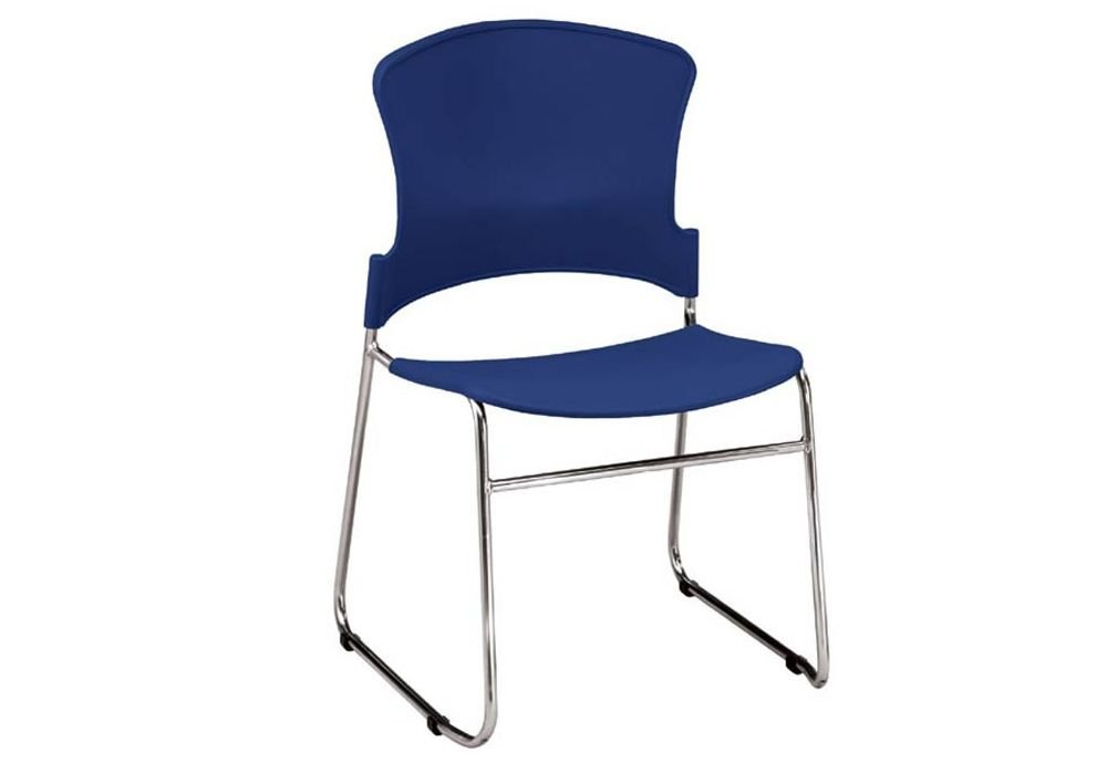 """Set of 4 Multi-Use Plastic Stack Chair Navy Polypropylene/Chrome Frame Dimensions: 23.75""""W x 23""""D x 33.25""""H Seat Dimensions: 18.5""""Wx17.5""""Dx18.25""""H"""
