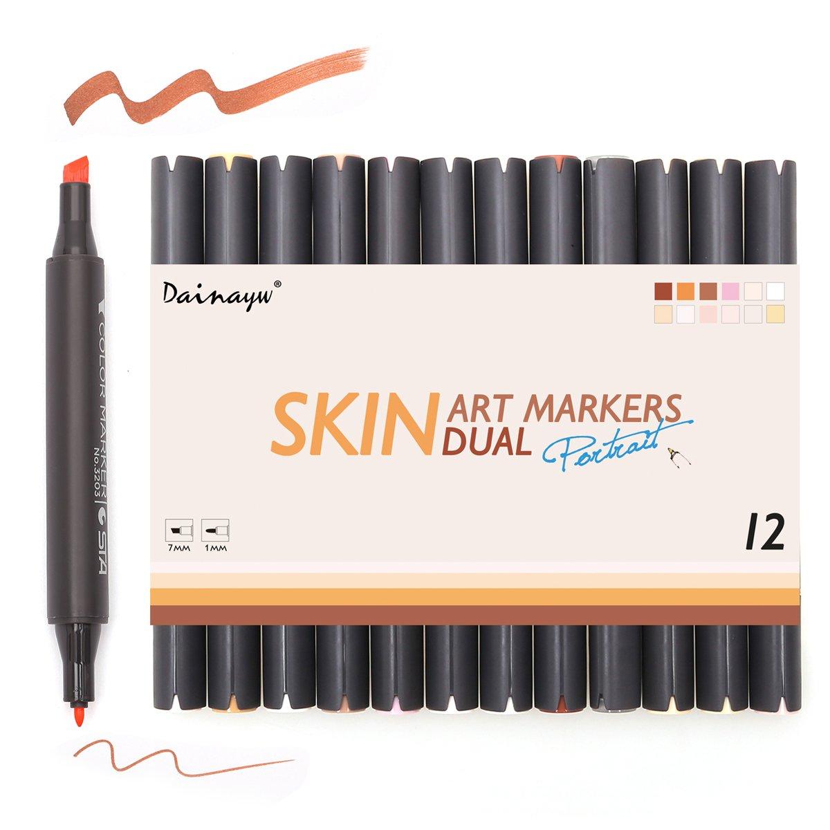 Buy Professional Brush Tip Skin Tone Markers Set Of 6 Flesh