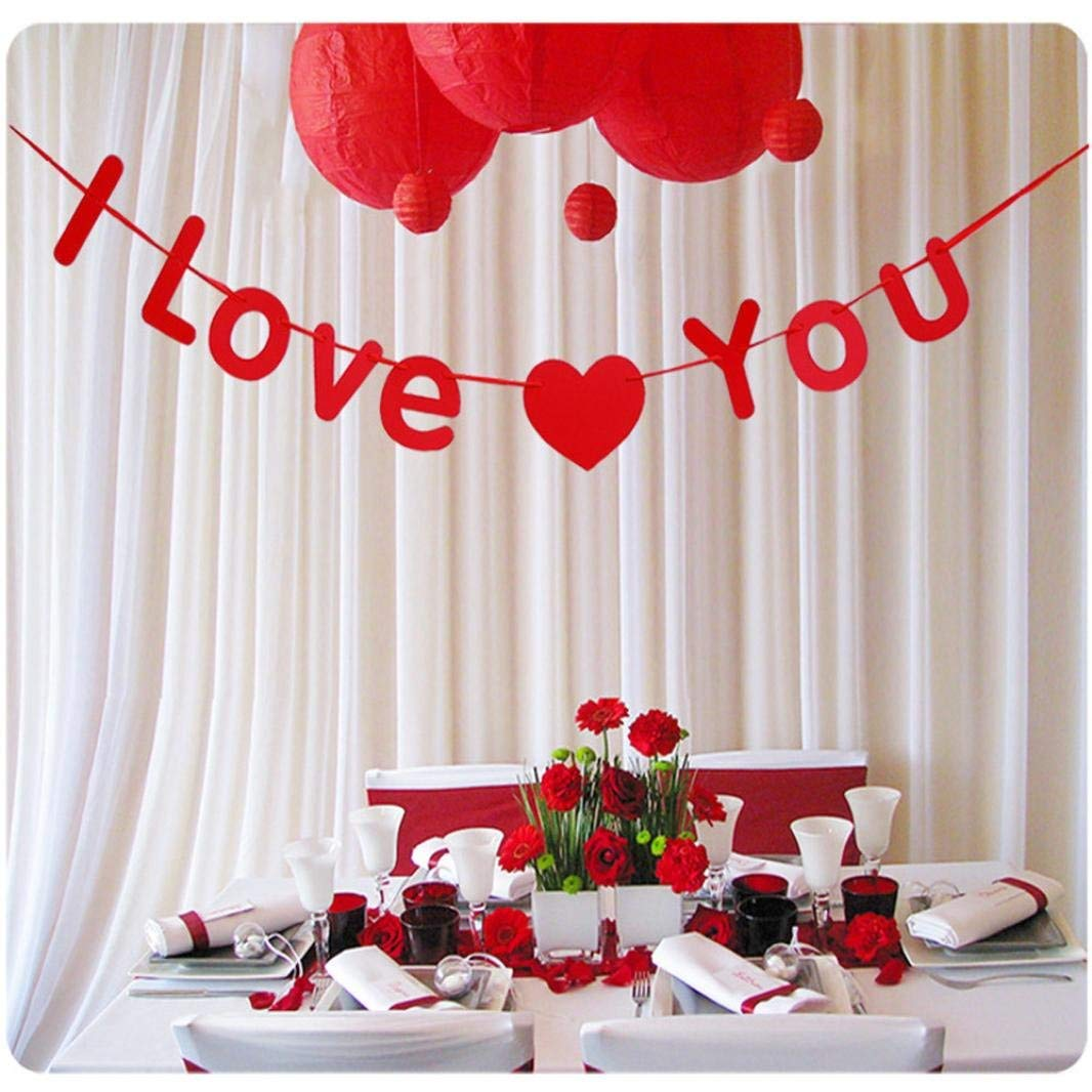 Wedding Banners Decoration,Elevin(TM) Romantic New Home Decoration Supplies Creative Yarn Flower Ball Wedding Room Bedroom Decoration Wedding Celebrations Letters Garland Decor (B Red)