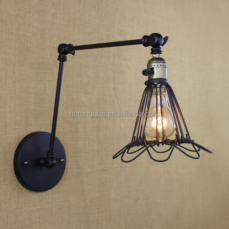 American Iron Cage Style Vintage Wall Lamp Double Swing Arm Retro Bedroom Wall Light