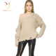 women wide neck heavy knit woolen sweater tattered sweater