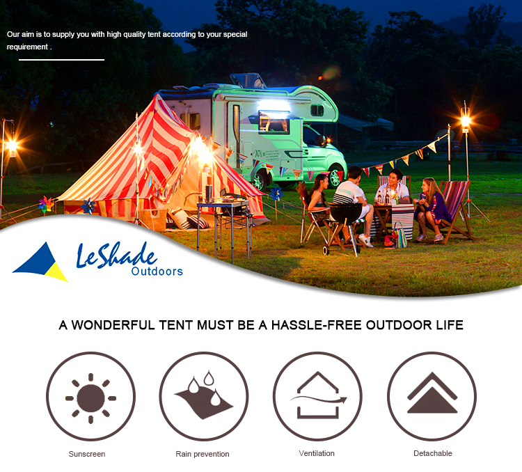 Low price portable easy automatic camping aluminium bell tent with 90cm wall